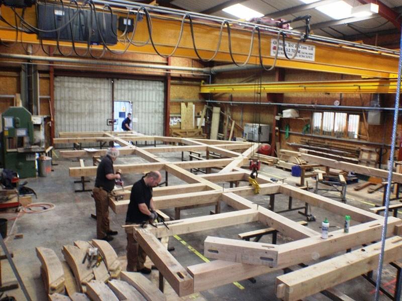 Oak Building Structure Frames Manufacture (Remote Crane Control)